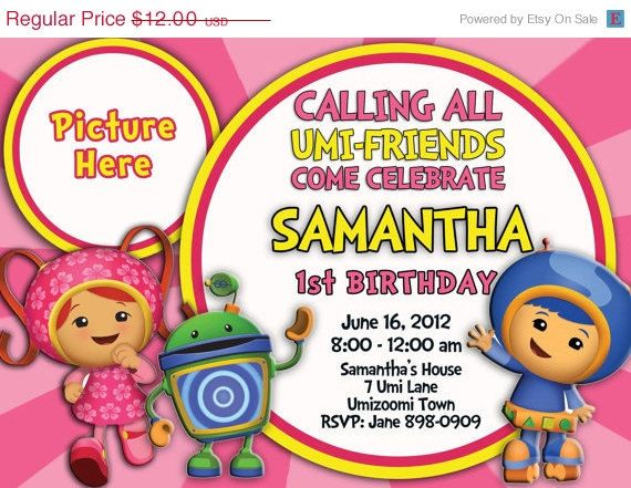 SALE Team Umi Zoomi  Invitation by PartyTimeInvite on Etsy, $10.00