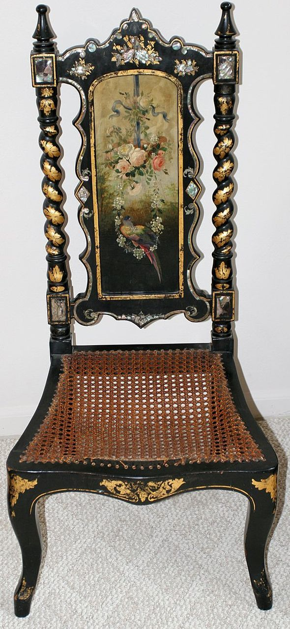 victorian mother of pearl floral and bird painted chair for sale on ruby lane birds of a. Black Bedroom Furniture Sets. Home Design Ideas
