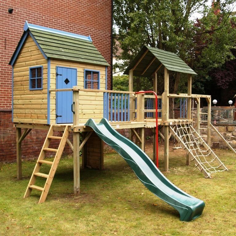 Climbing frame playhouse | monkey bars | clatter bridge http://www ...