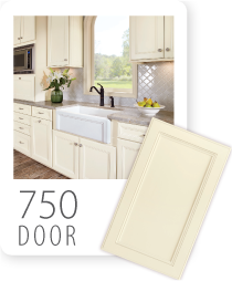 This new 750F, this beaded edge mitered door style has very delicate detail, reminiscent of an applied molding.