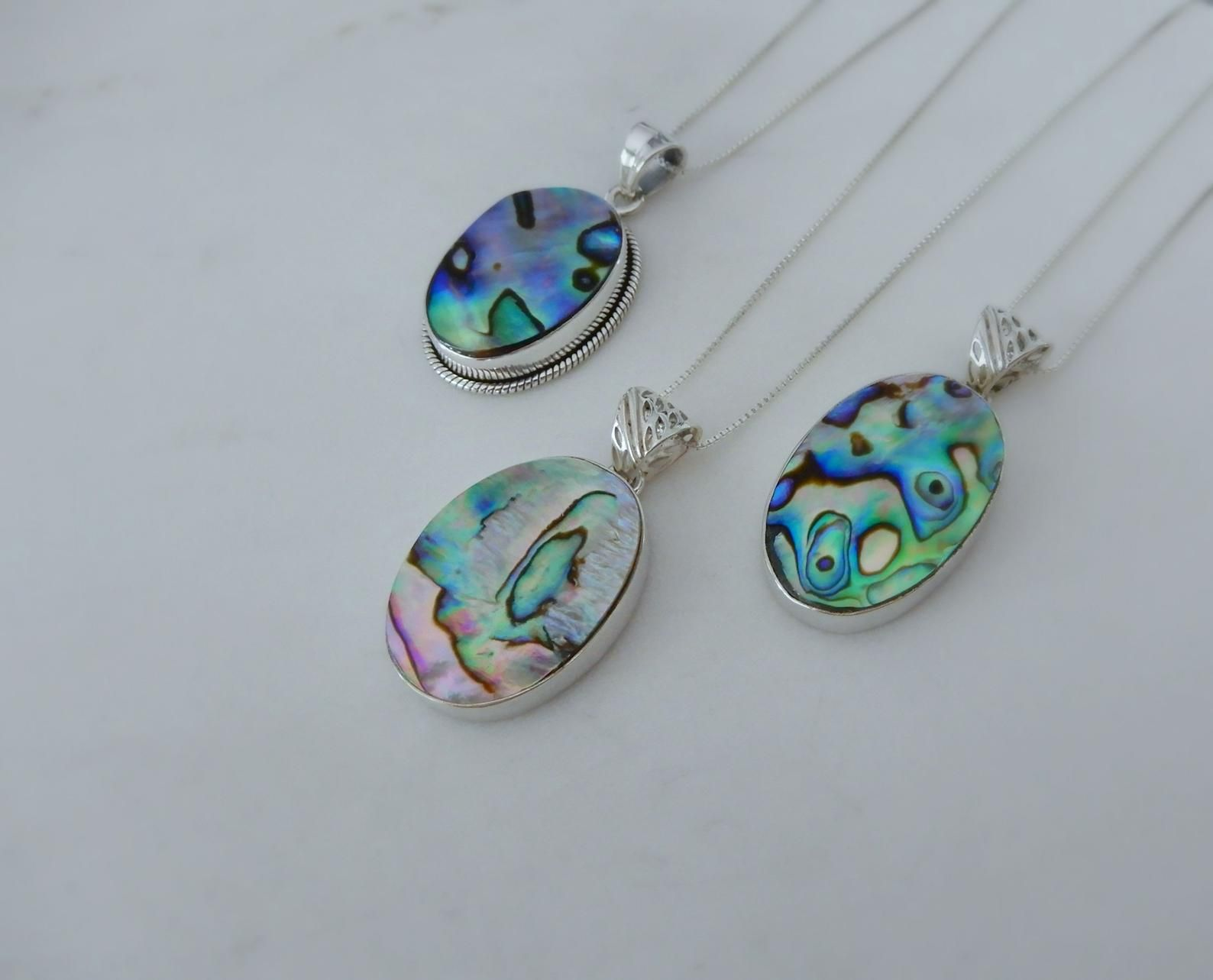 Sterling Silver Shell Jewellery Unique shell Pendant Abalone Necklace Abalone Shell Pendant