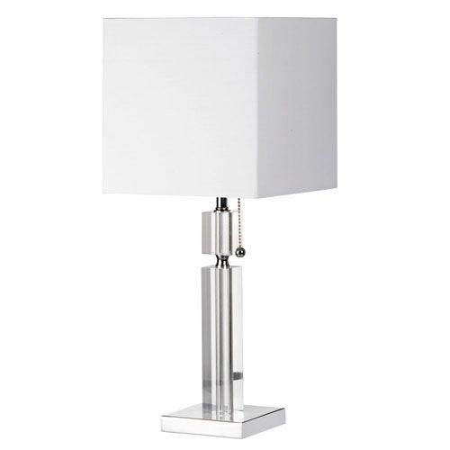Dainolite crystal one light acrylic and polished chrome table lamp w crystal one light acrylic and polished chrome table lamp w square white linen shade aloadofball Image collections