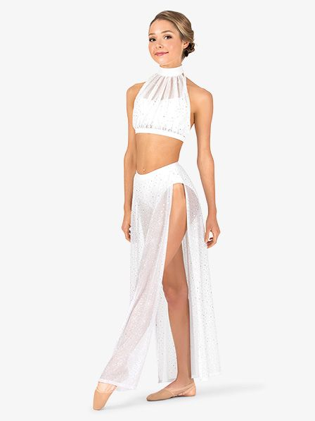 Womens Performance Twinkle Mesh Side Slit Long Skirt