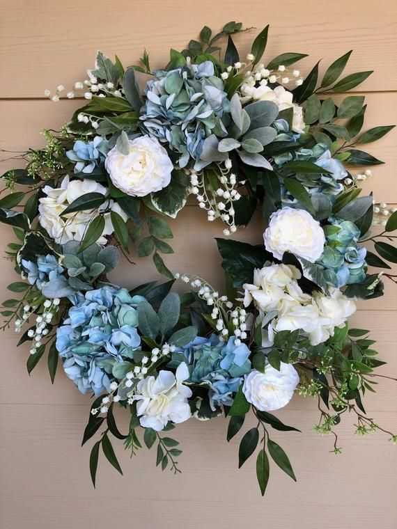 Photo of Spring and Summer Wreath, Front Door Wreath, Blue and White Hydrangea Wreath, Hydrangea Wreath, Cottage Wreath