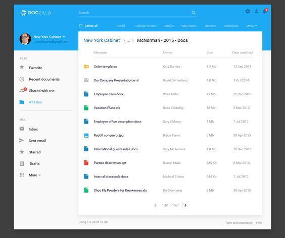Doczilla  Document Management Blue Material Design  Intranet