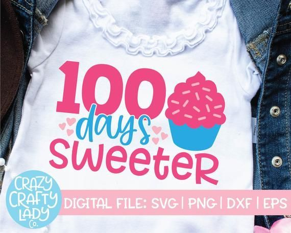 100 Days Sweeter SVG, 100th Day of School Cut File, Girl's Shirt Design, Kid's Saying, Funny Cupcake