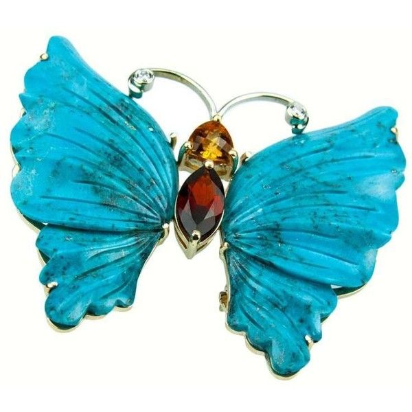 Turquoise Gold Butterfly Brooch Pin Pendant ($2,950) ❤ liked on Polyvore featuring jewelry, brooches, necklaces, multiple, turquoise jewelry, 14k gold brooch, 14 karat gold pendants, gold butterfly brooch and butterfly jewelry