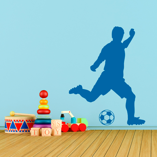 vinilo de futbolista a punto de golpear el baln para decorar la pared de un cheap