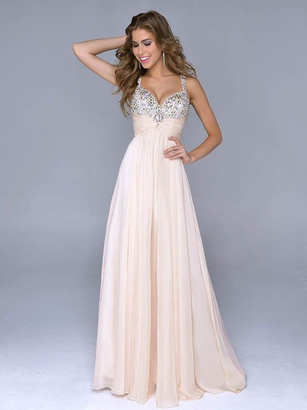 A-line/Princess Beading Kjæreste Stropper Floor-length Chiffon Dress