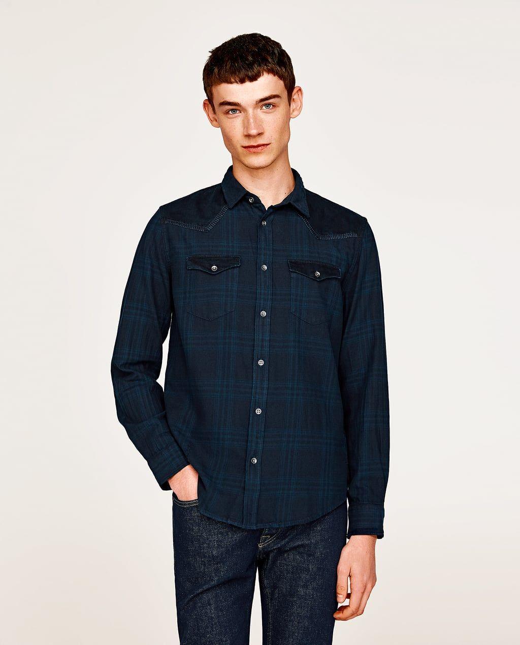 CAMISA DENIM COMBINADA | Camisas, Camisas denim y Camisas hombre