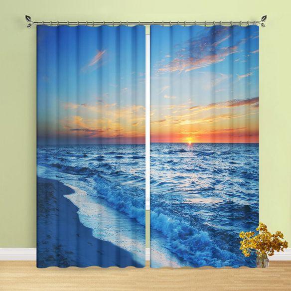 Ocean Sunrise Curtains Sea Wave Seaside Scene 4 Prong Pinch Pleat/Grommet Top/Rod Pocket Blackout Drapes for Living Room, 2 Panel Set, Blue Curtains & Drapes