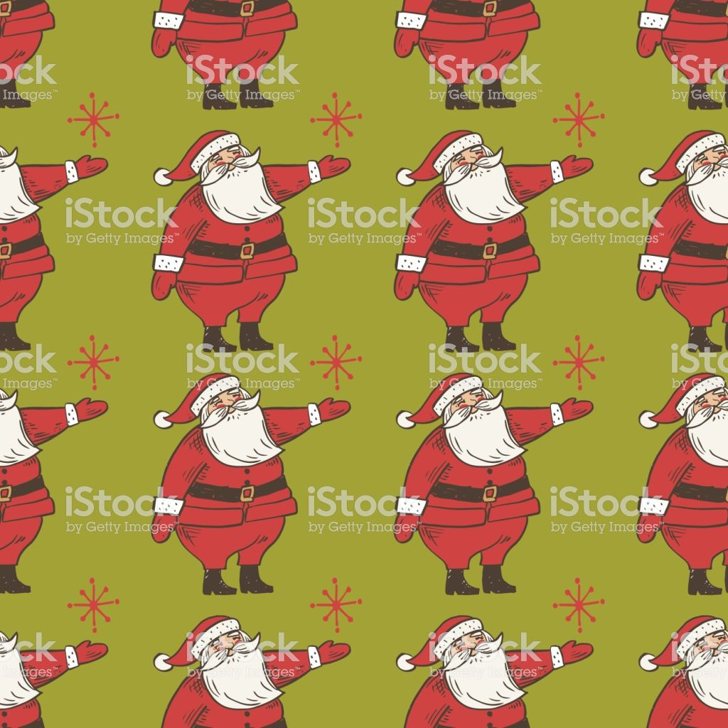 Santa Claus Retro Hand Drawn Seamless Vector Background Pattern in ...