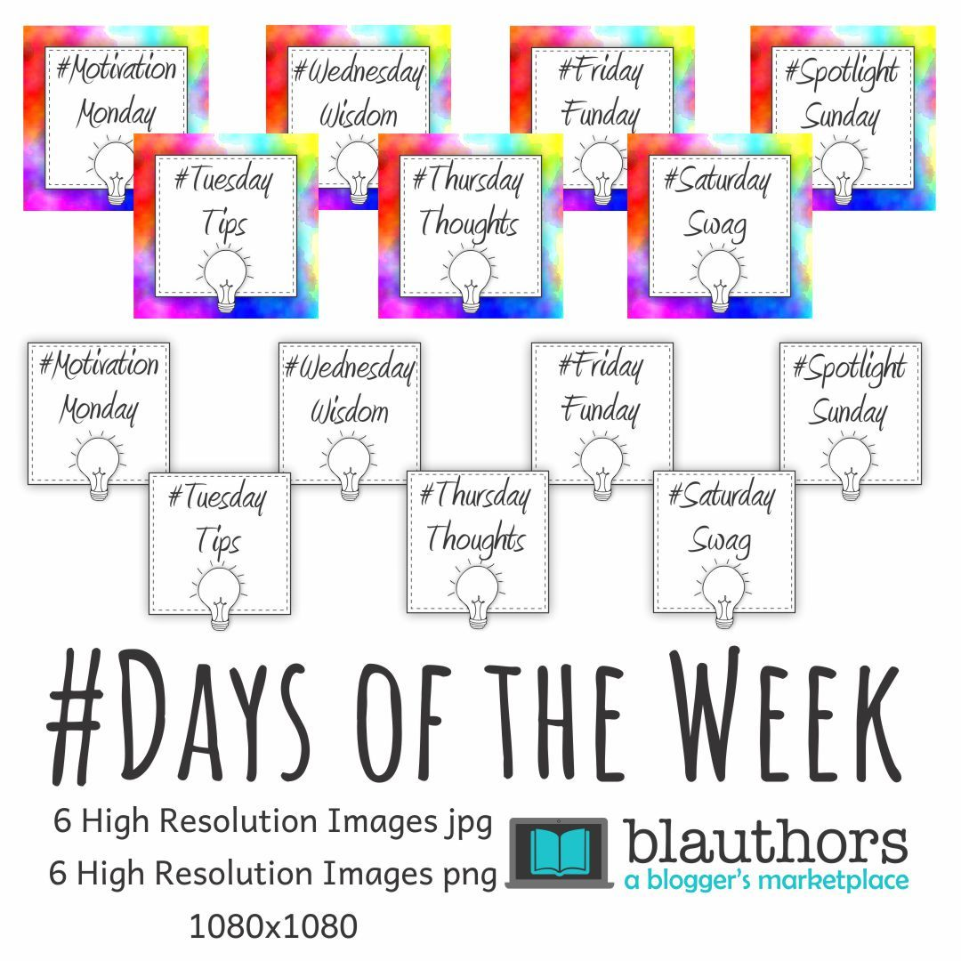 Hashtag Days Of The Week Square Images Blauthors Bullet Journal Ideas Pages Square Social Media Hashtag Days of the week horizontal