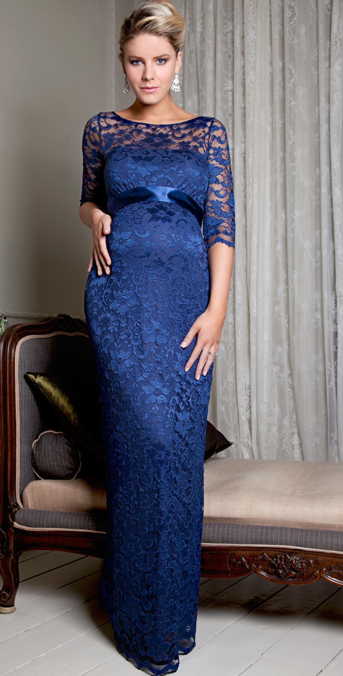 Amelia Lace Maternity Dress Long Windsor Blue Maternity