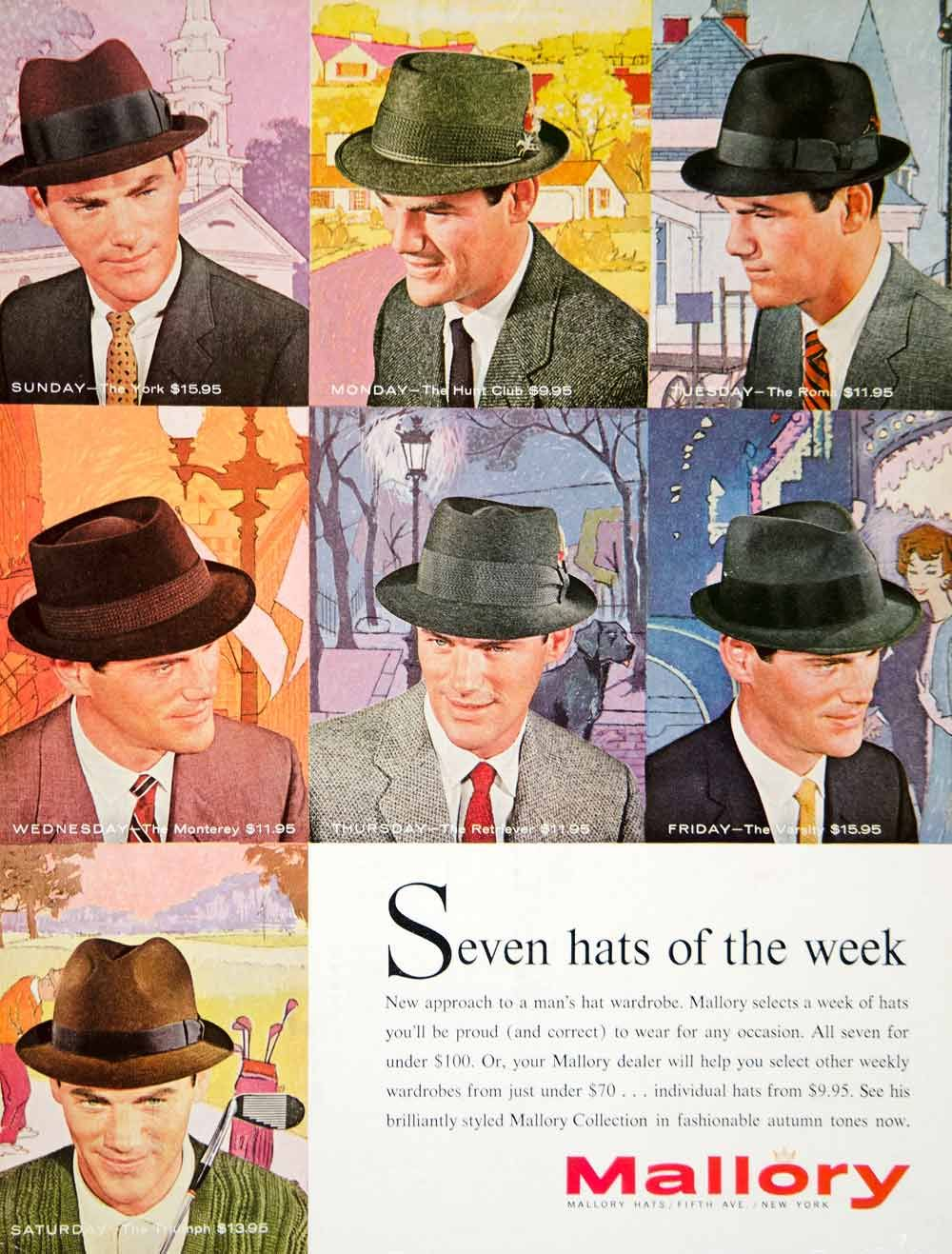 1960 color print ad for Mallory hats for men -- the ...