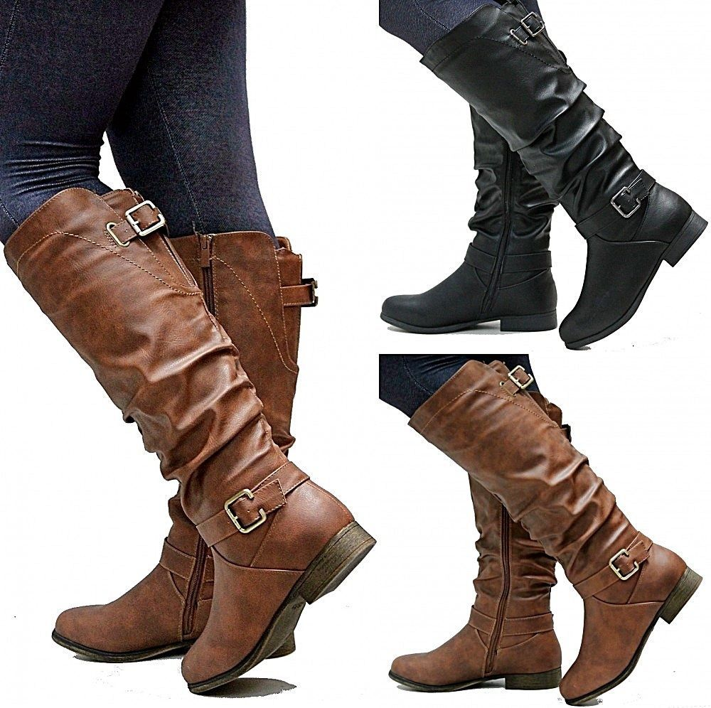 New Women TS66 Tan Black Riding Knee High Boots sz 5 to 11 | High ...