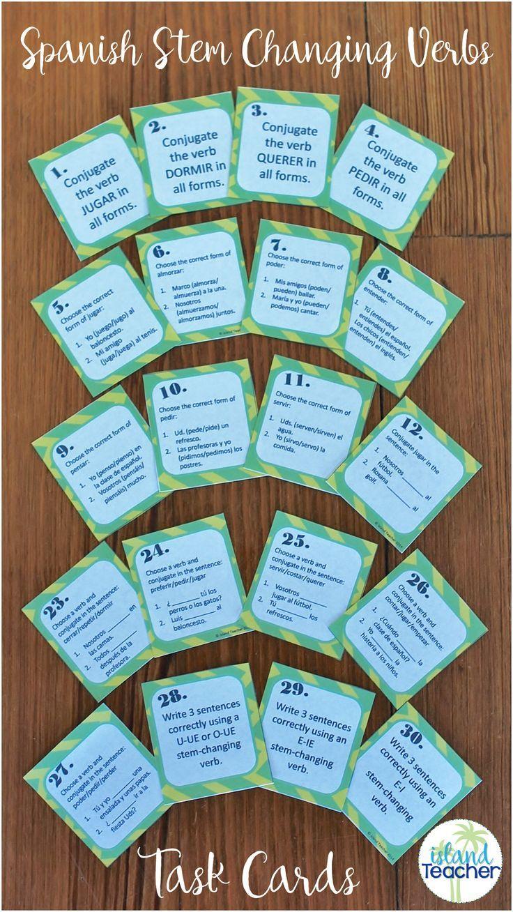 Stem Changing Verbs Spanish Task Cards Task Cards Spanish Classroom Activities Spanish [ 1308 x 736 Pixel ]