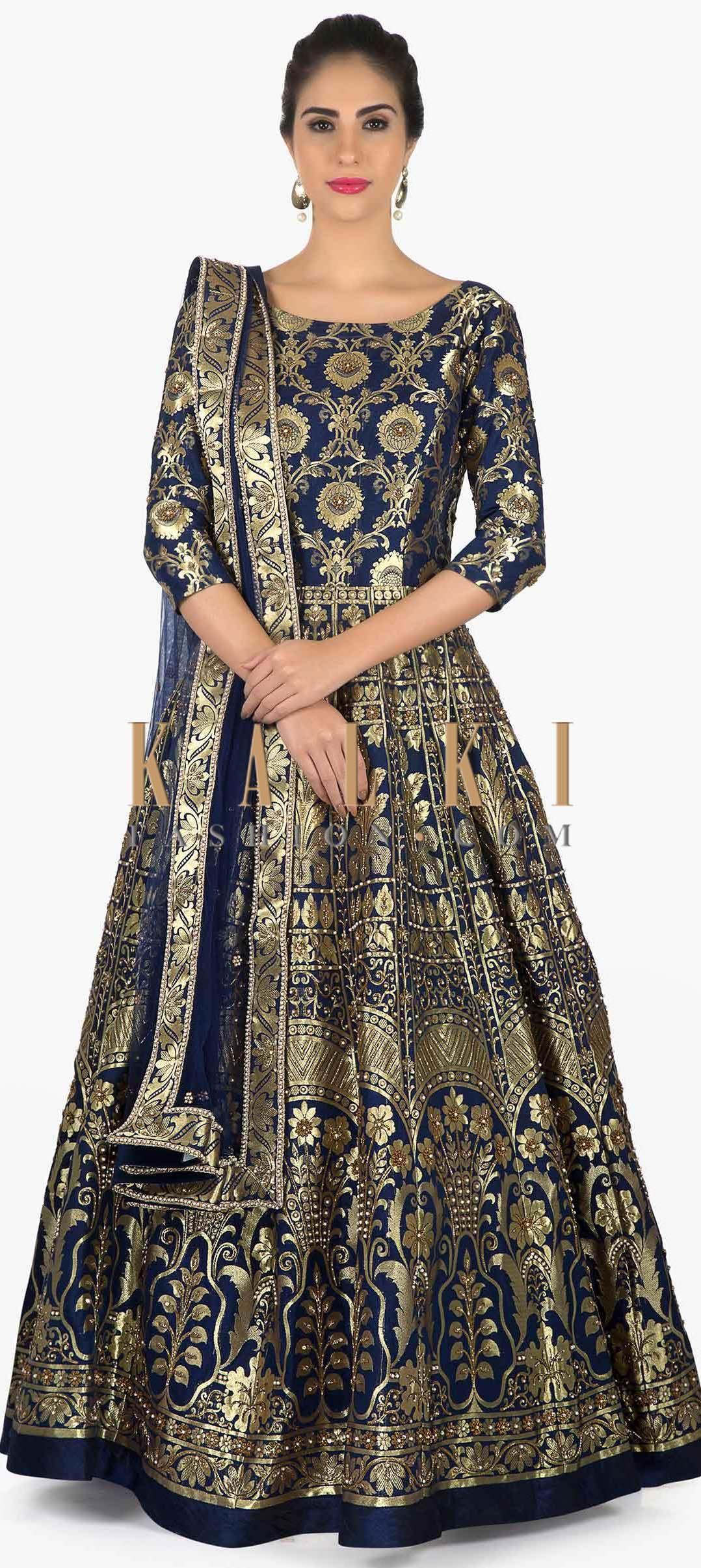 Navy blue Brocade Anarkali Set available only on Kalki | Brocade dresses,  Silk anarkali suits, Anarkali dress