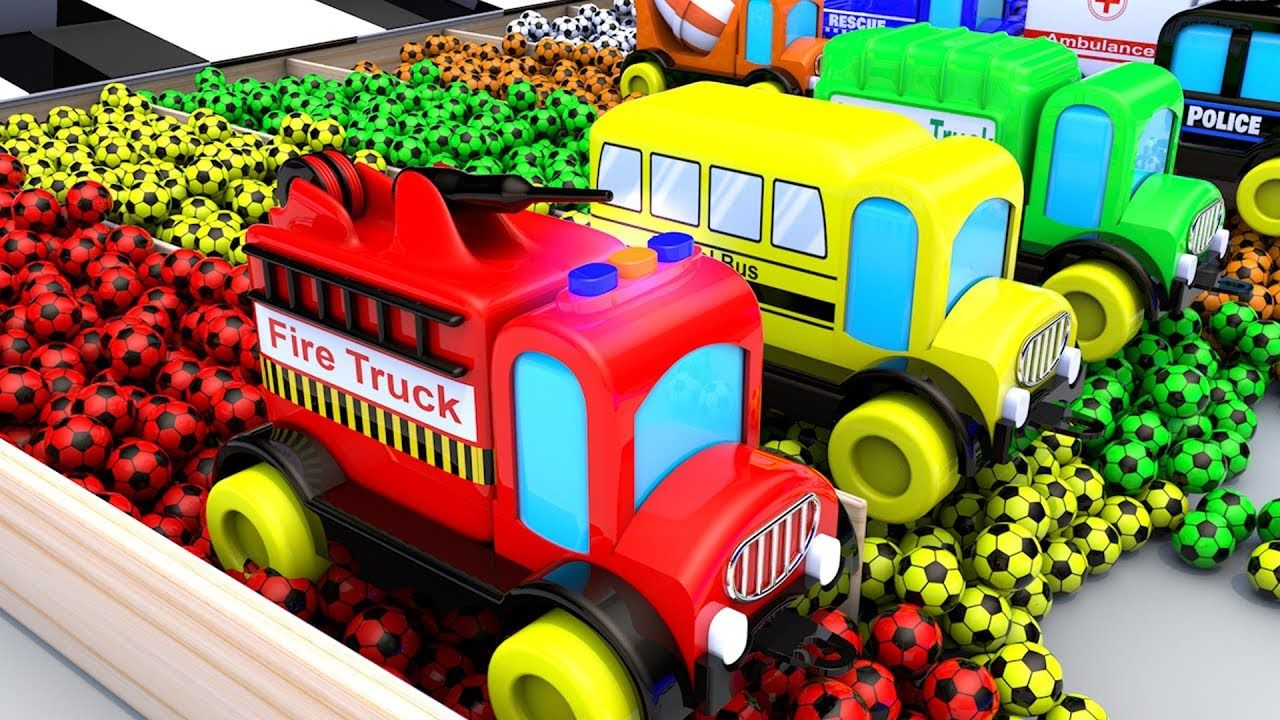 Colors for Children to Learn with Toy Trucks 3D Color Change Soccer Ball... | Cars for Kids ...