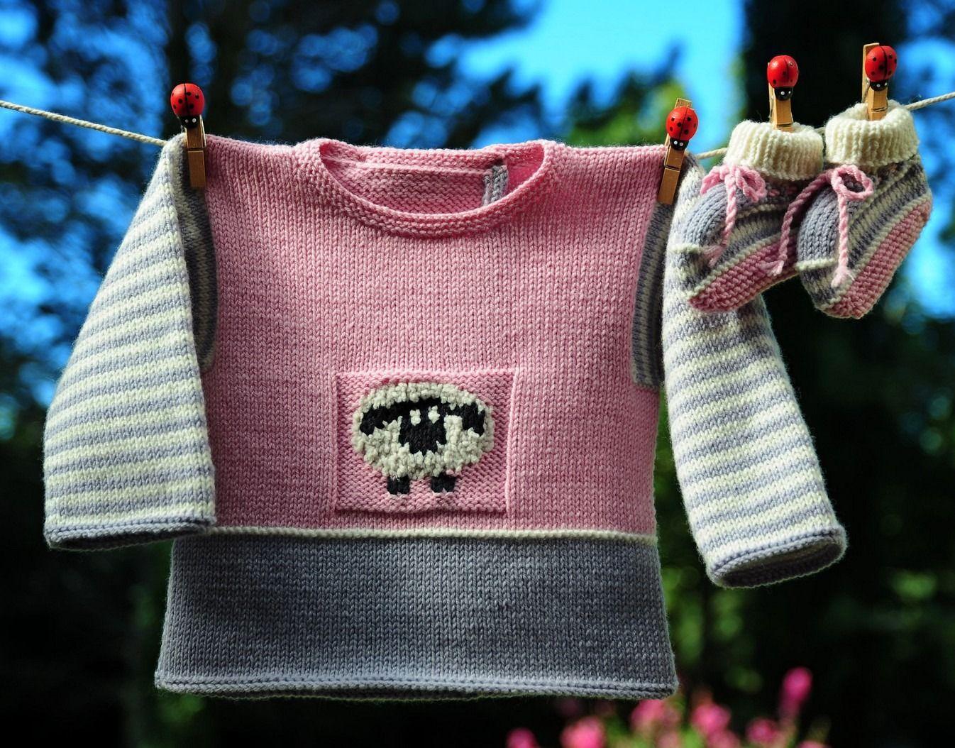 layette ensemble mérinos 3 mois rose et gris neuf tricoté main ...