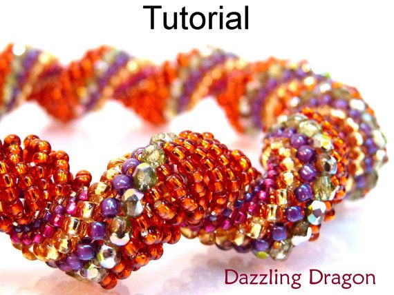 Beading Pattern, Jewelry Tutorial, Beaded Bracelet, Necklace, Dutch Spiral Stitch, Beautiful Gift, Bead Tutorial #3091