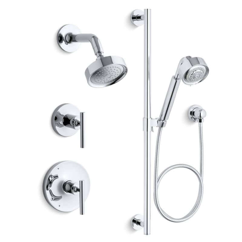 Kohler K Purist Rt11 4 Cp Polished Chrome Rite Temp Pressure Balanced Shower System With Head And Hand
