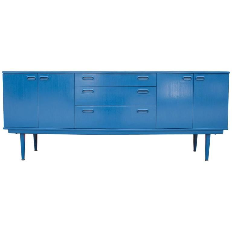 Modern Blue Lacquered Three-Drawer Sideboard 1