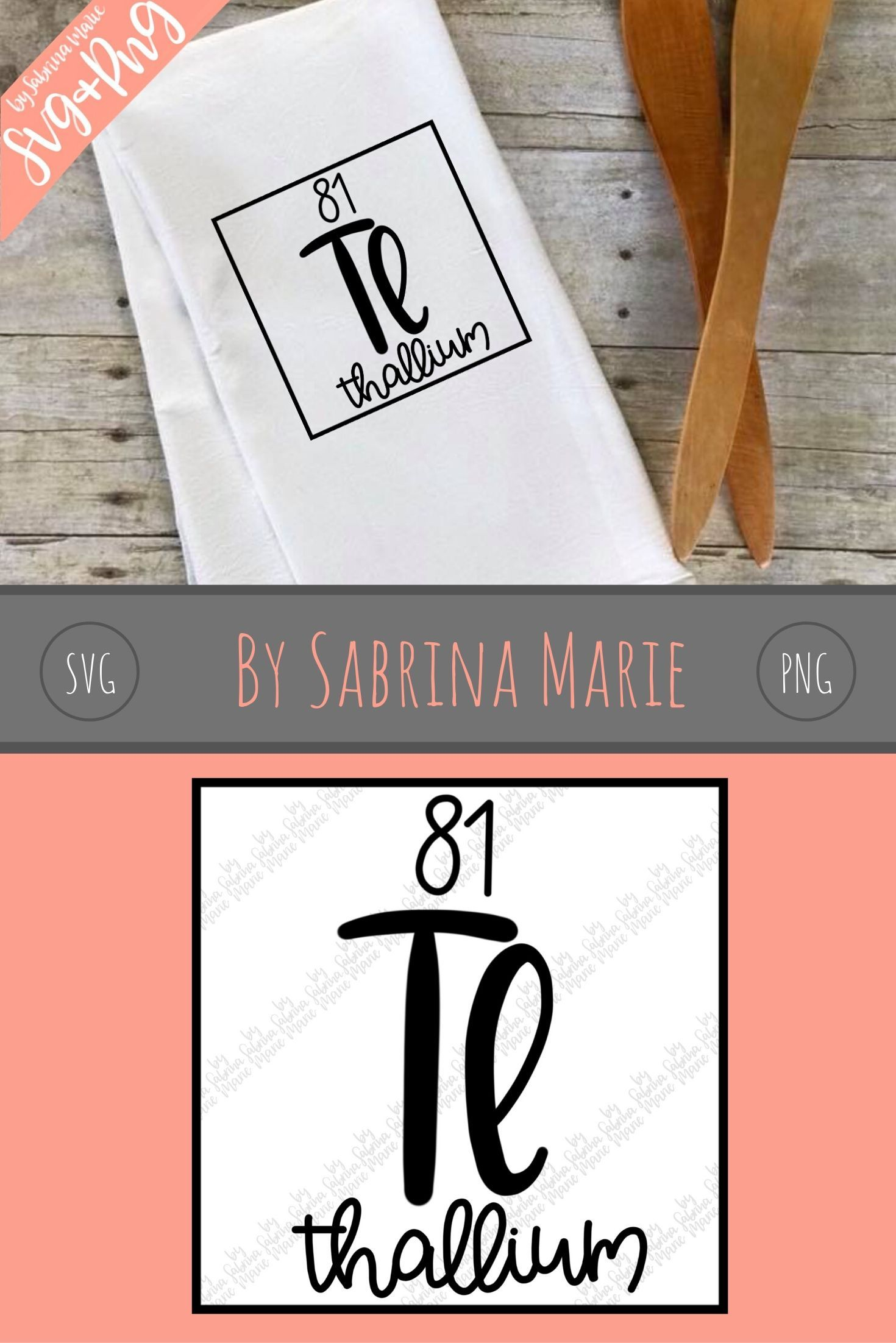 81 Thallium Tl  Handdrawn Periodic Table of the Elements Design  Digital Download SVG