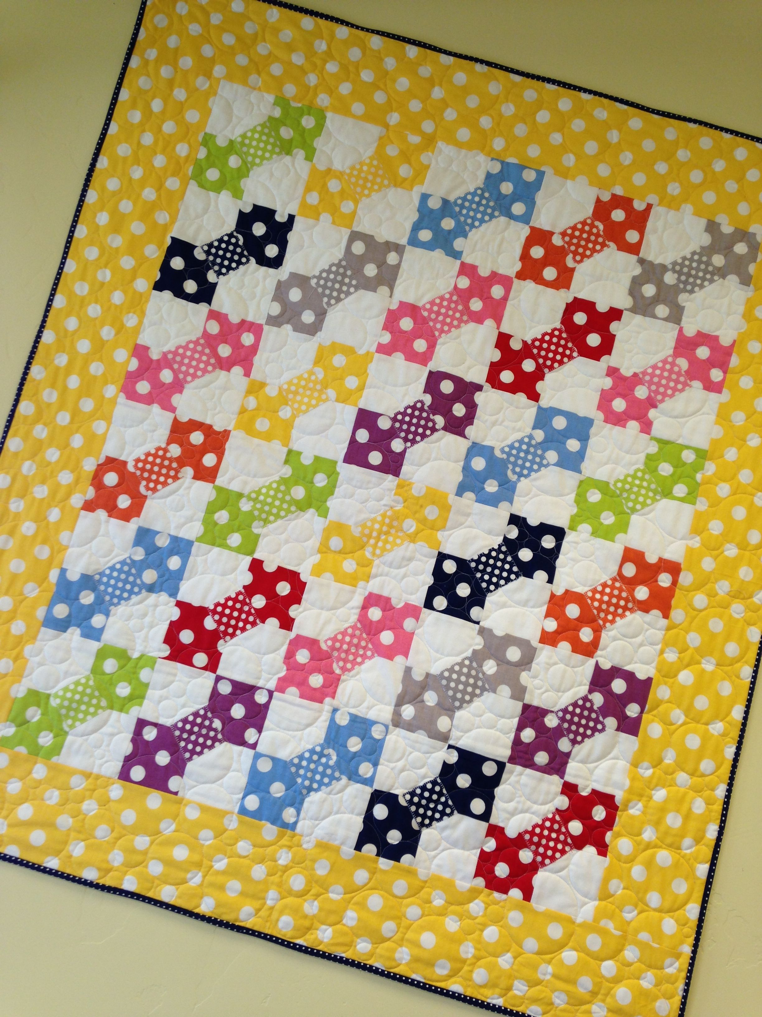 "Polka Dots Anyone? FOR SALE Quilt 39"" x 45"" #quiltersattic"