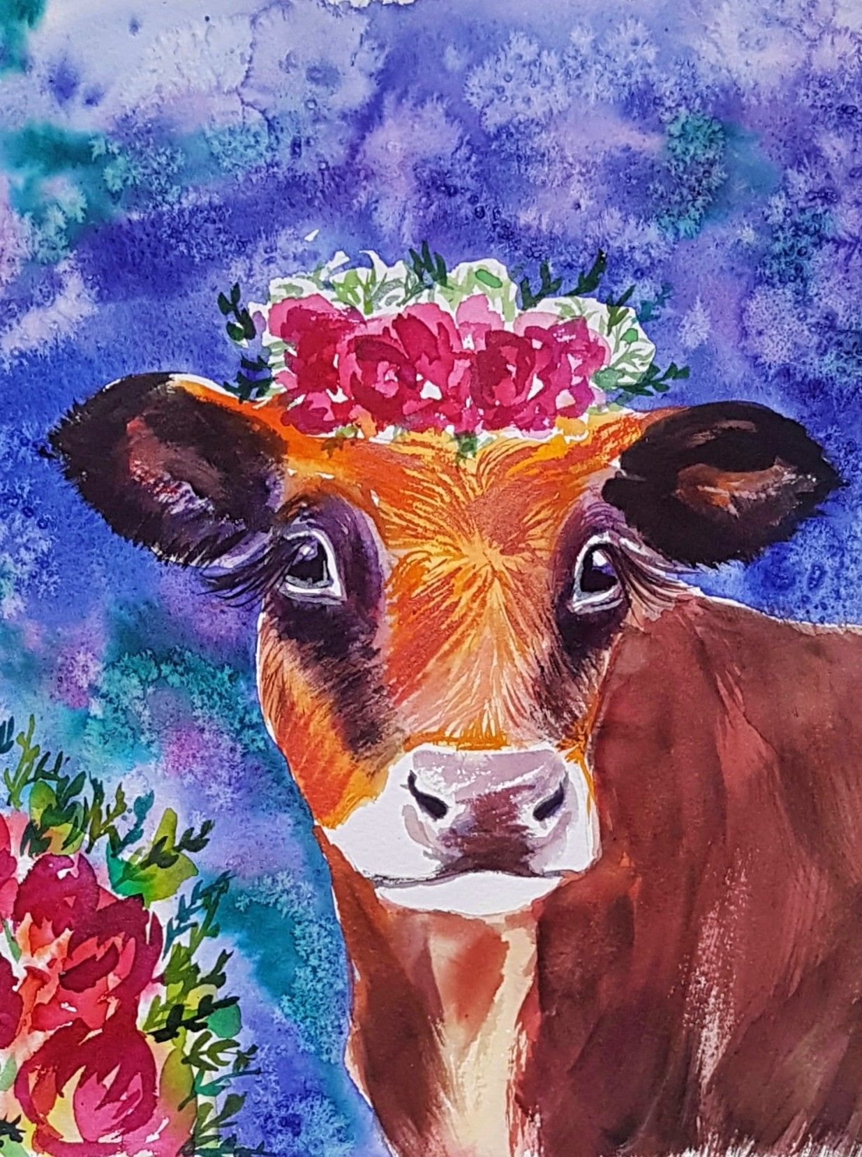 Cow In Flower Crown, Original Watercolor, Boho Wall Art, Home Decor #cow