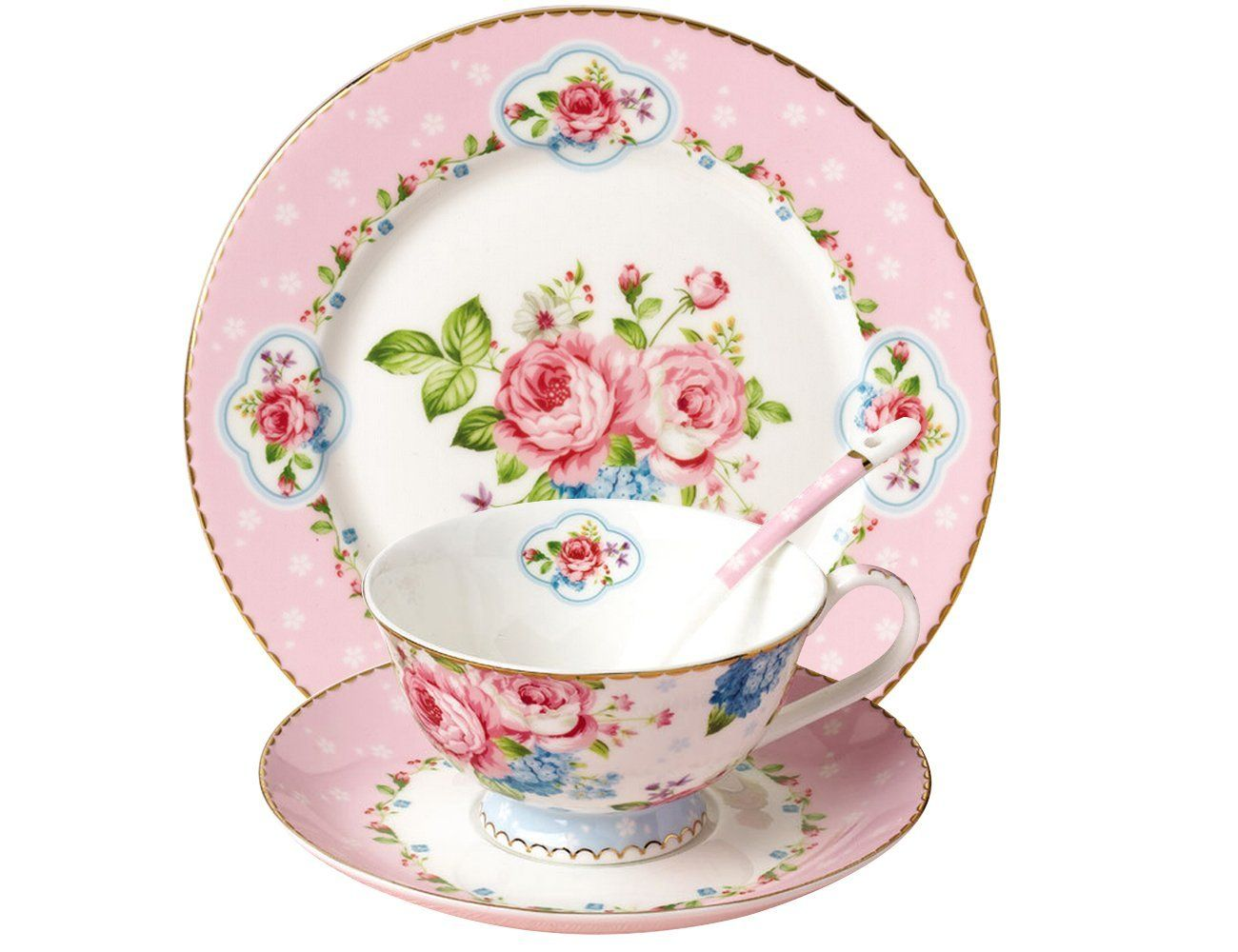 Amazon.com | JSAron Romantic Rose Series Porcelain 4-Piece Teacup Saucer · Dessert PlatesPlate SetsTea ...  sc 1 st  Pinterest & Amazon.com | JSAron Romantic Rose Series Porcelain 4-Piece Teacup ...