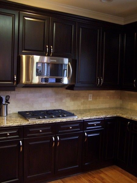 Espresso stained kitchen cabinetry kitchen cabinetry for Black stained cabinets