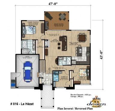816 - Le Hézat Bungalow Plain pied Plans Design Idee retraite