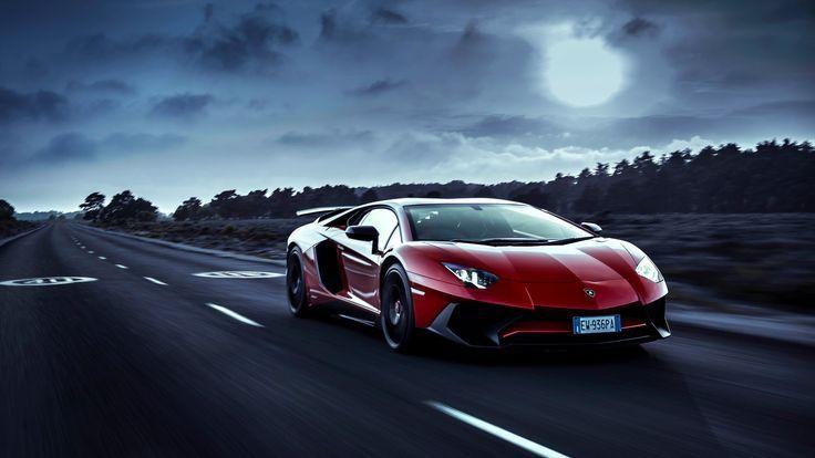 imposing Red Lamborghini Aventador Moon Night lamborghini wallpapers lamborghini aventador wallpapers hd-wallpapers cars wallp #lamborghiniaventador