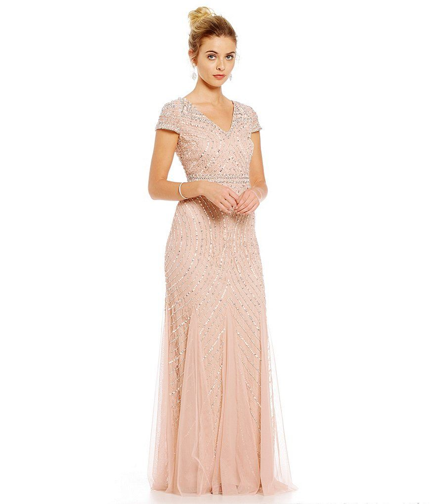 Adrianna papell petite v neck cap sleeve sequin beaded for Petite lace wedding dresses