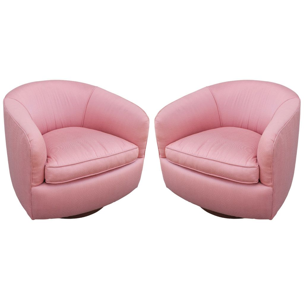 Pair Of Milo Baughman Swivel Barrel Chairs