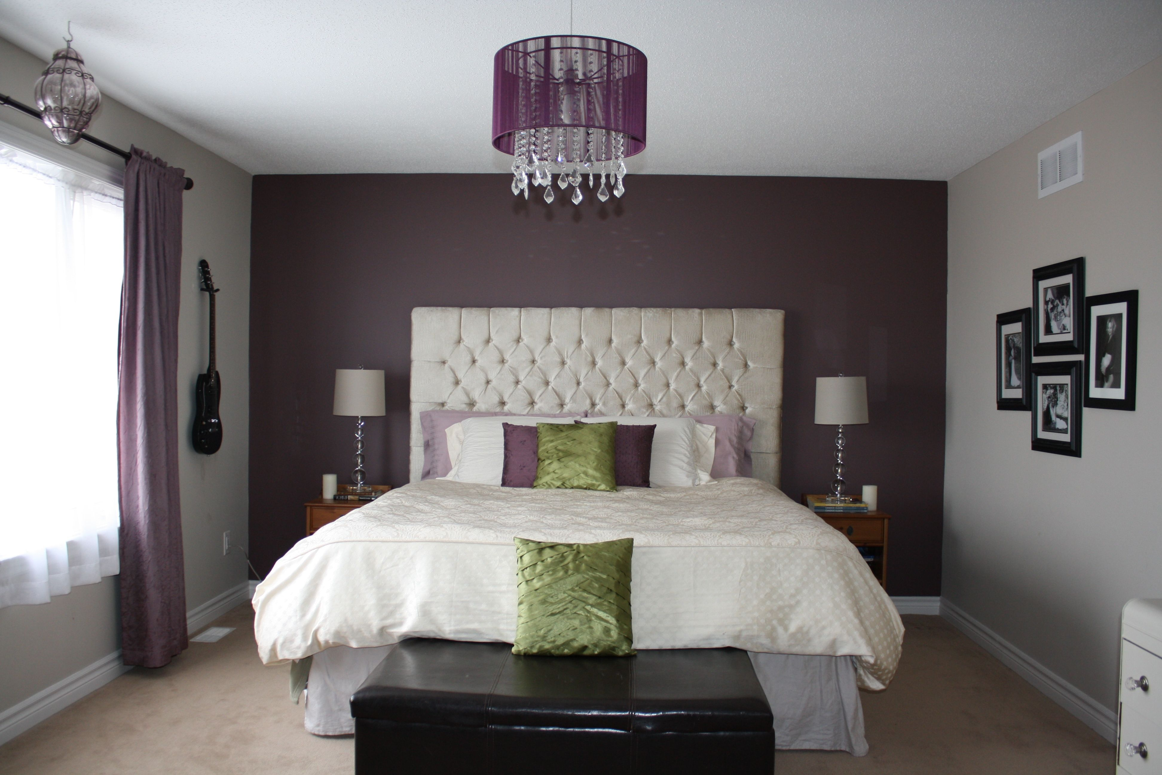 purple bedroom feature wall