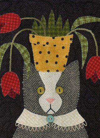 Cat pattern by Bonnie Sullivan | All Through The Night ... : wool quilt patterns - Adamdwight.com
