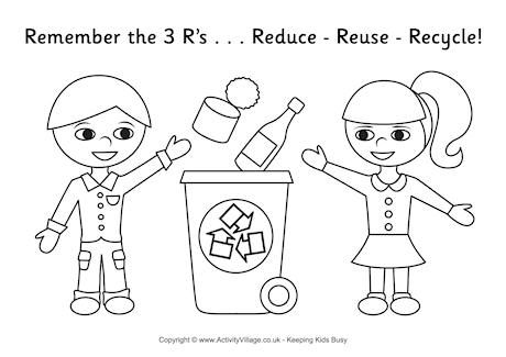 Recycling colouring page | Kids crafts | Earth day coloring ...