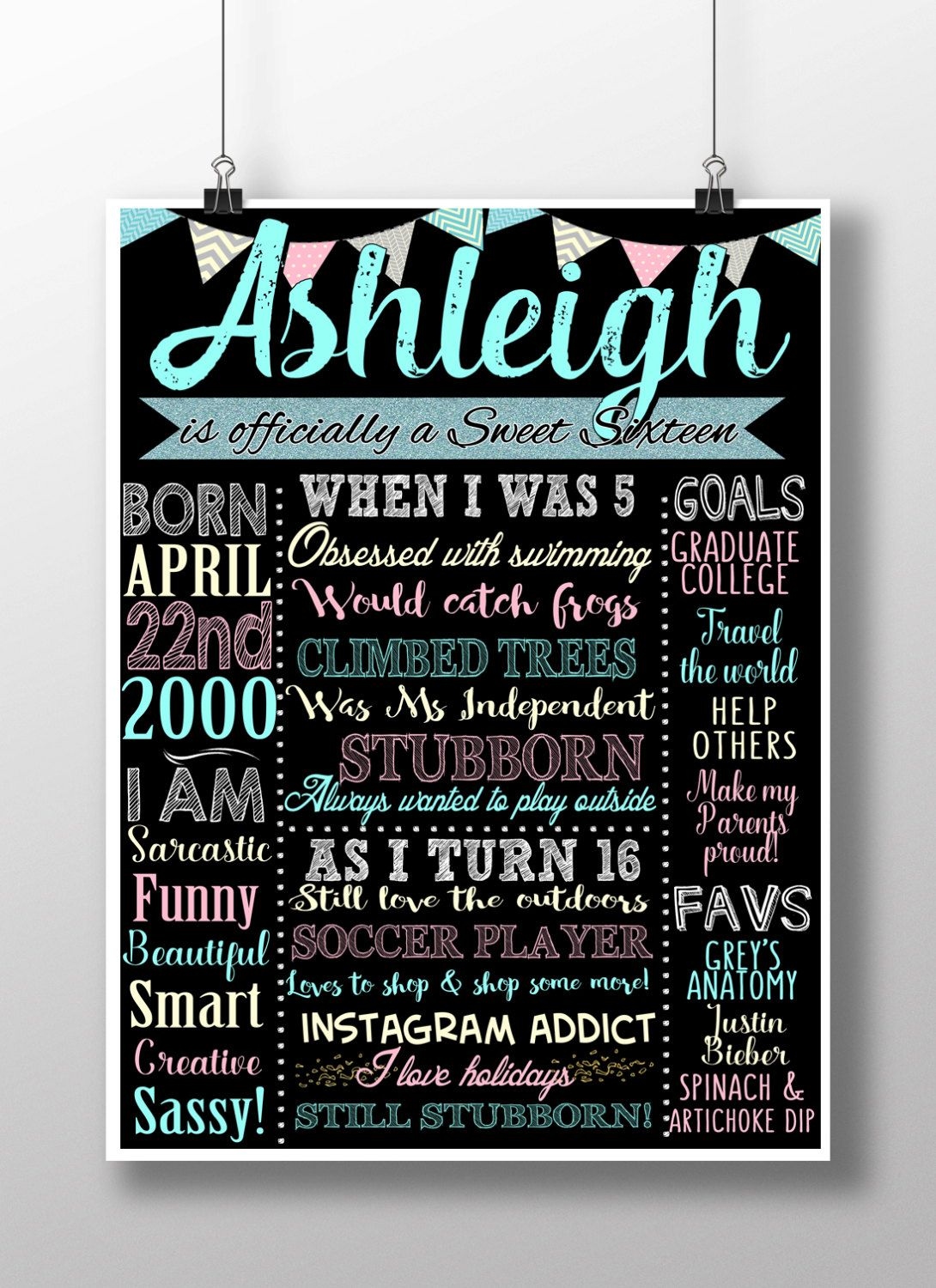 Sweet 16 Birthday Board Poster Custom For By Customprintablesny Sweet 16 Birthday Party Sweet 16 Birthday 16th Birthday Party