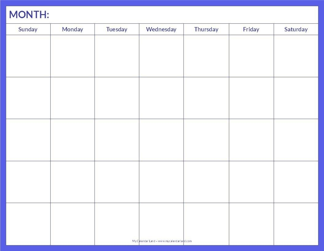 Collect Printable Blank Monthly Calendar Template Blank Monthly
