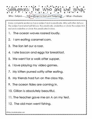 Predicates And Subjects Subject And Predicate Worksheets Subject And Predicate Complete Subject And Predicate Subjects and verbs worksheets