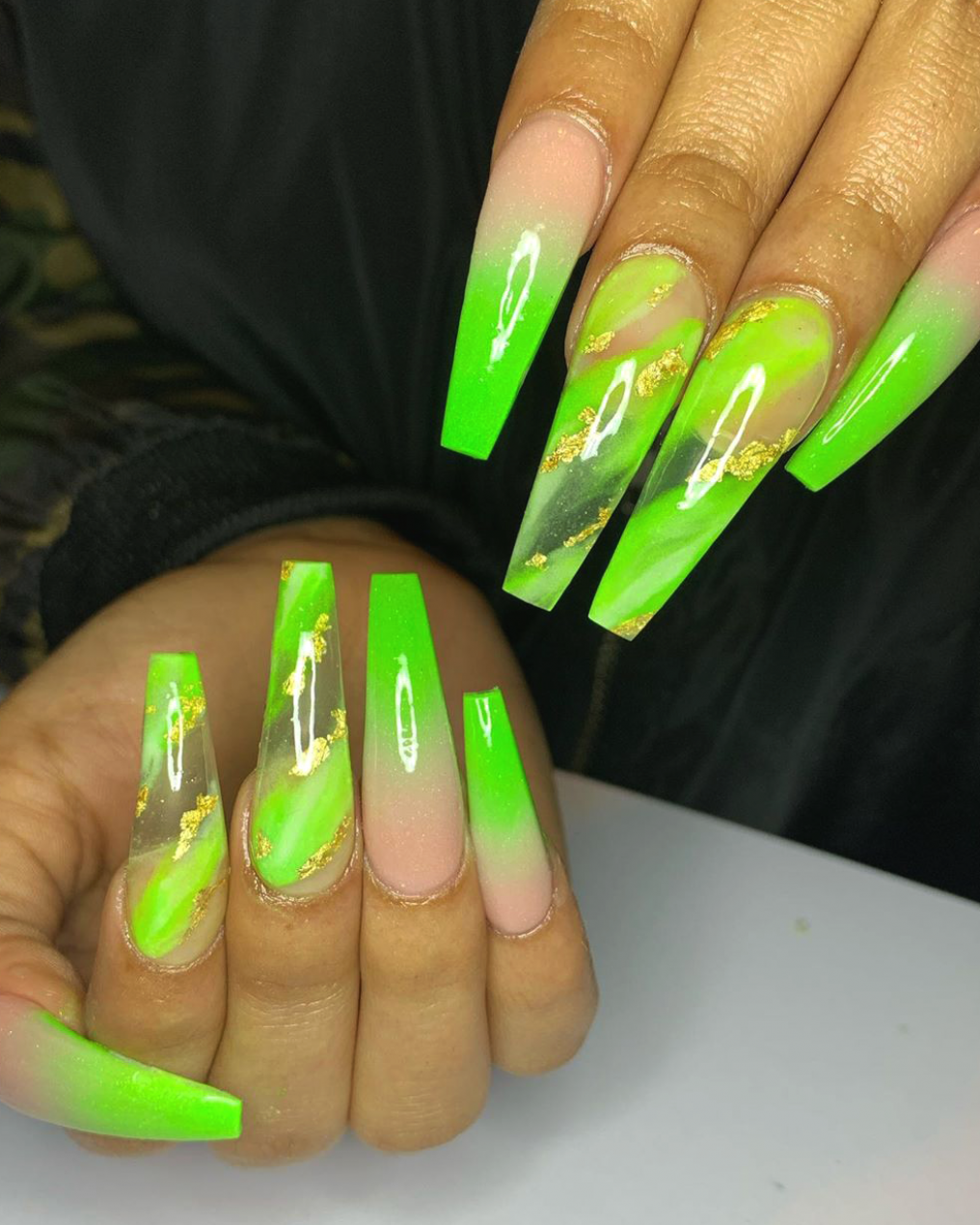 Lime Green Ombre Coffin Nails With Two Accent Lime Green Marble Nails Adorned With Gold Foil Cheetahac In 2020 Green Acrylic Nails Neon Green Nails Green Nail Designs