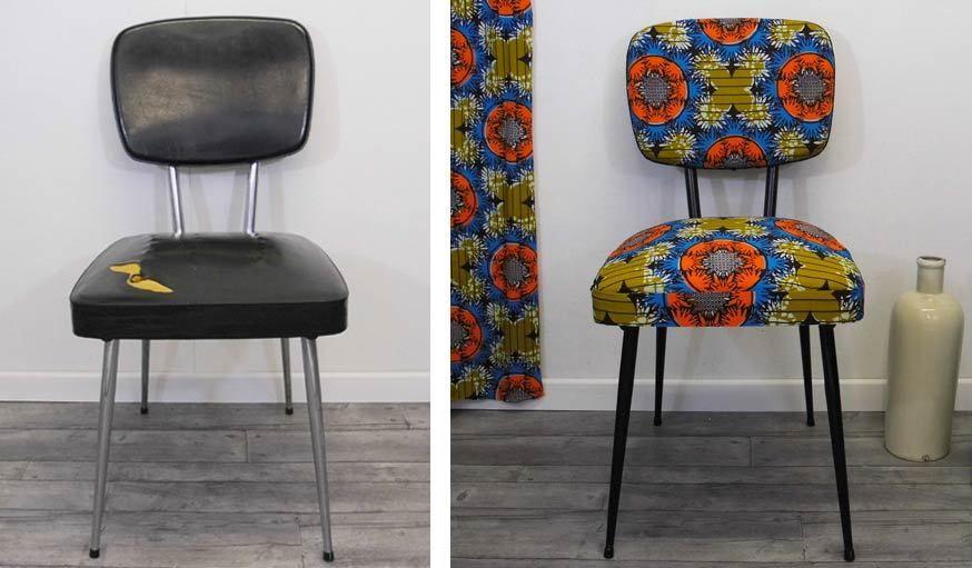 Diy Deco Relooker Une Chaise Avec Du Tissu Wax 18h39 Fr Diy Deco Customiser Chaise Relooking De Mobilier