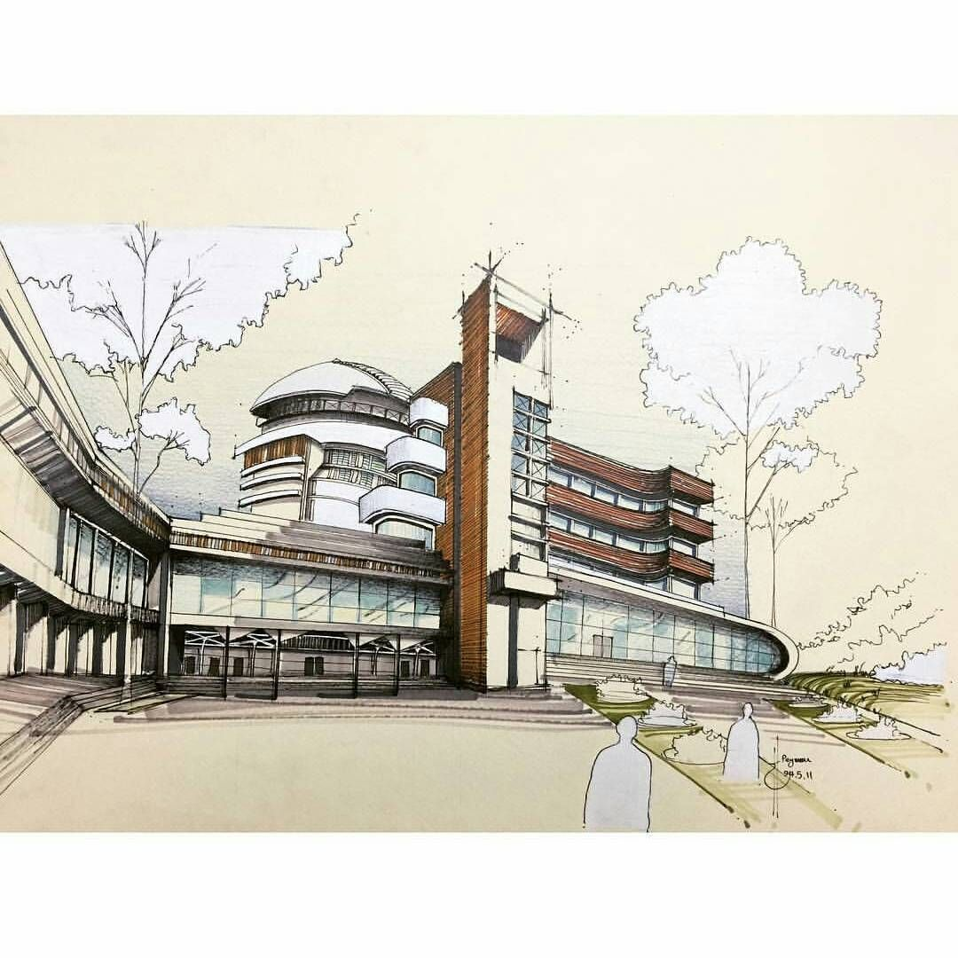 """Architecture Daily Sketches on Instagram """"By peymanthi"""