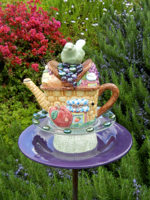 Marvelous Teapot Bird Feeder, Picnic Theme, Repurposed, Garden Art, Garden Whimsy,  Garden