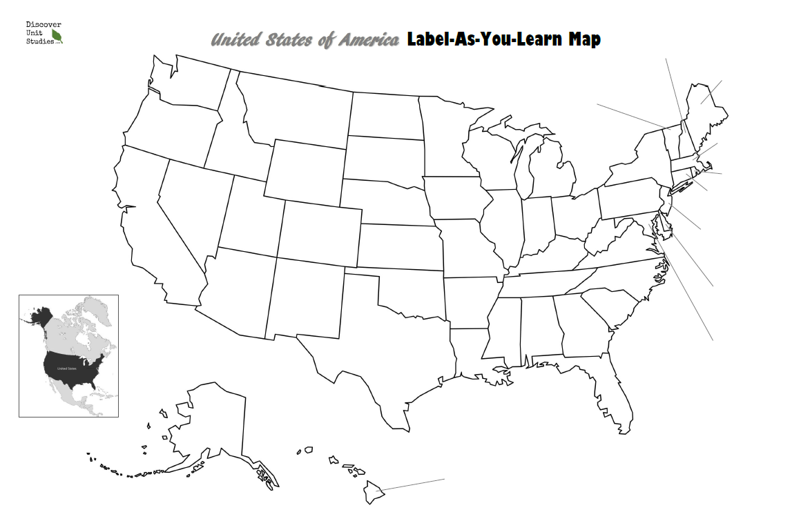 United States of America: Lable-As-You-Learn Map