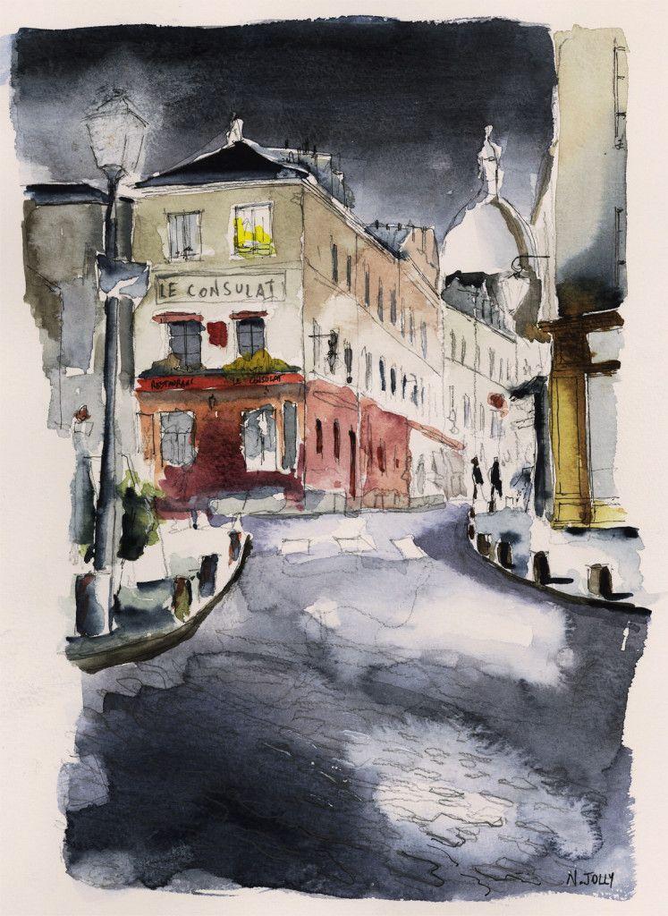 Watercolor Aquarelle Le Consulat Paris Images Paysages