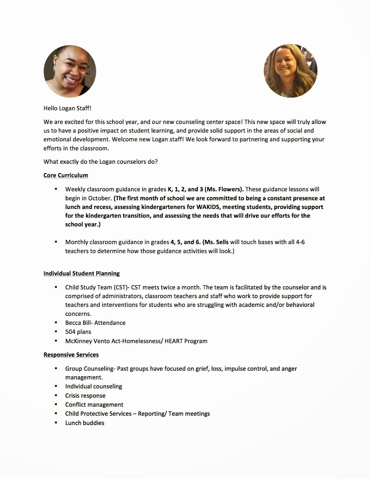 The Creative School Counselors A Letter To The Staff