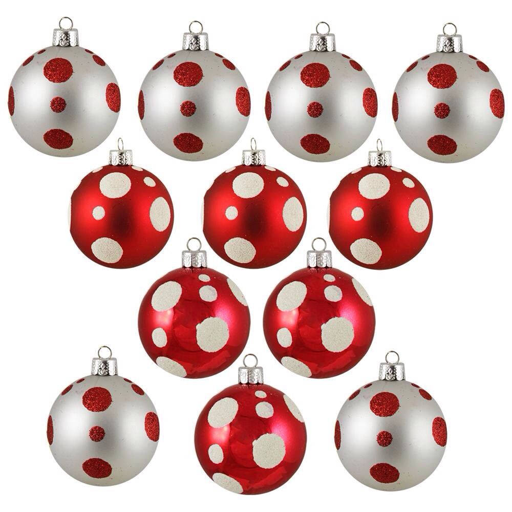 Red and white dot ornaments
